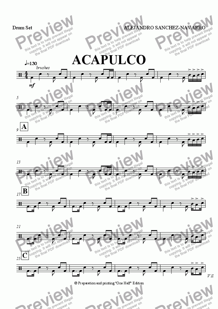 page one of the Drum Set part from ACAPULCO