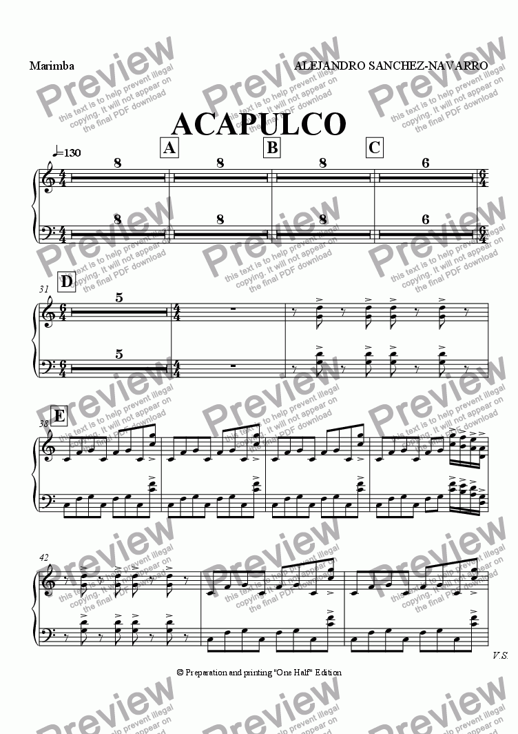 page one of the Marimba part from ACAPULCO