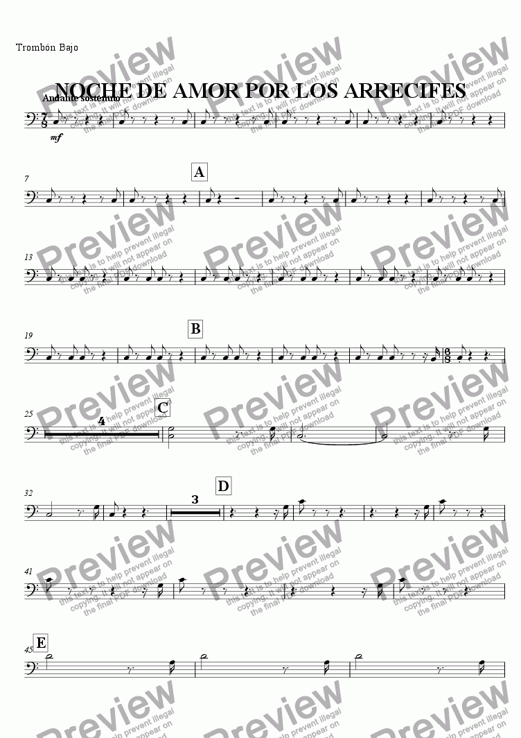 page one of the Trombón Bajo part from NIGHT LOVE BY THE REEFS