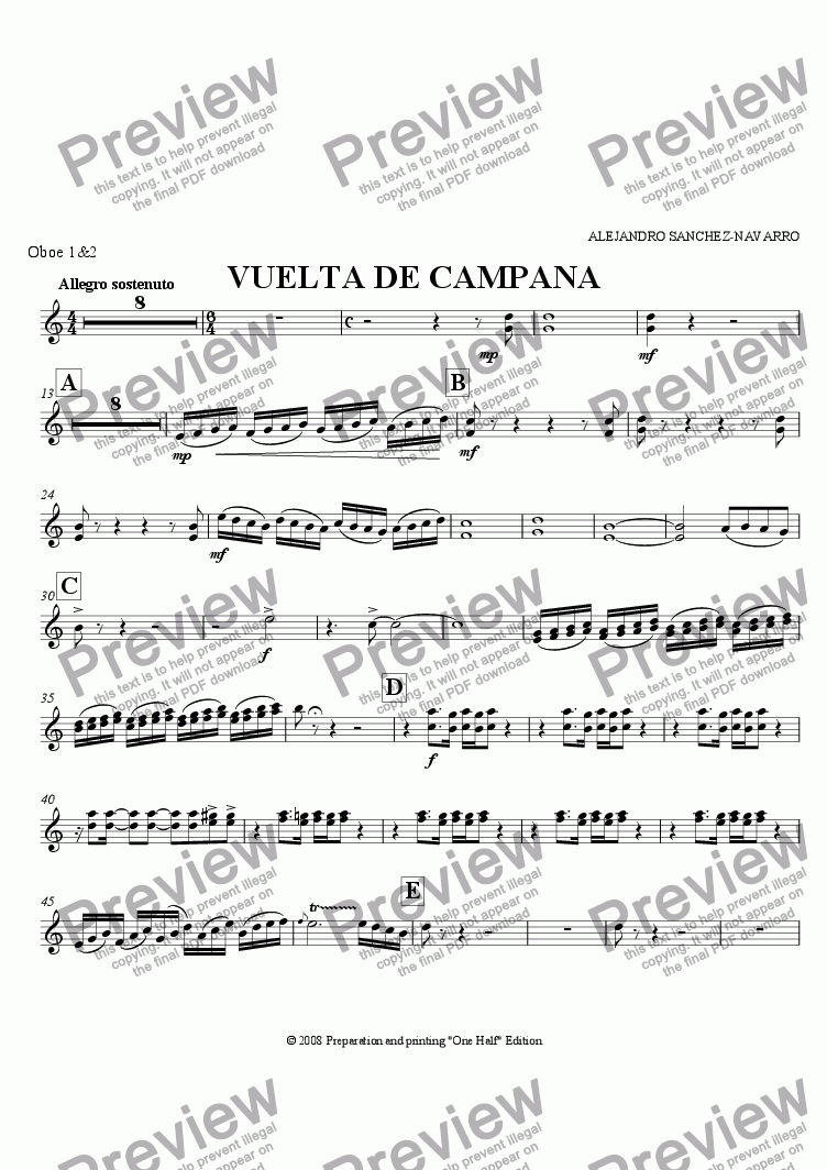 page one of the Oboe 1&2 part from BELL TURN