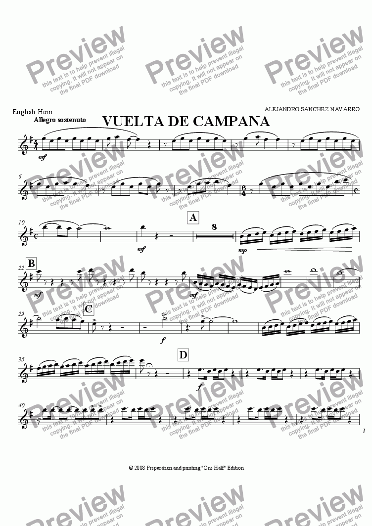 page one of the English Horn part from BELL TURN