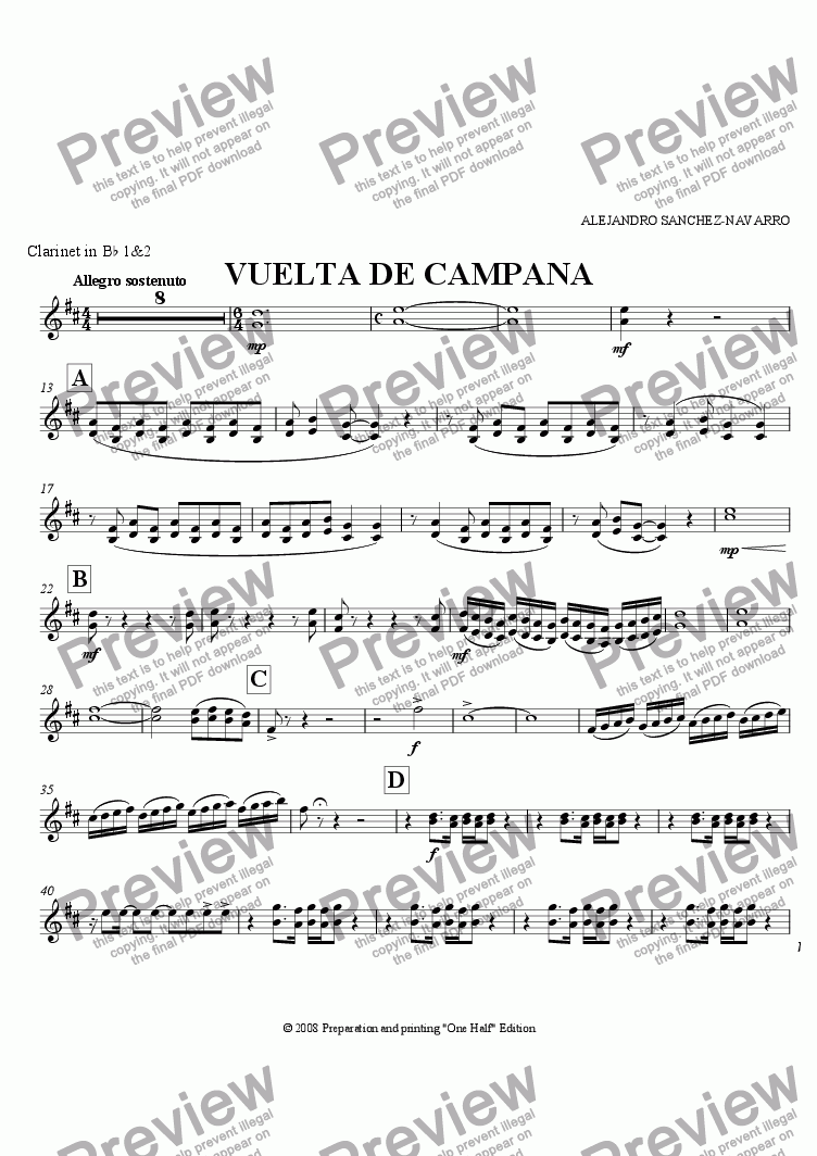 page one of the Clarinet in B^b 1&2 part from BELL TURN