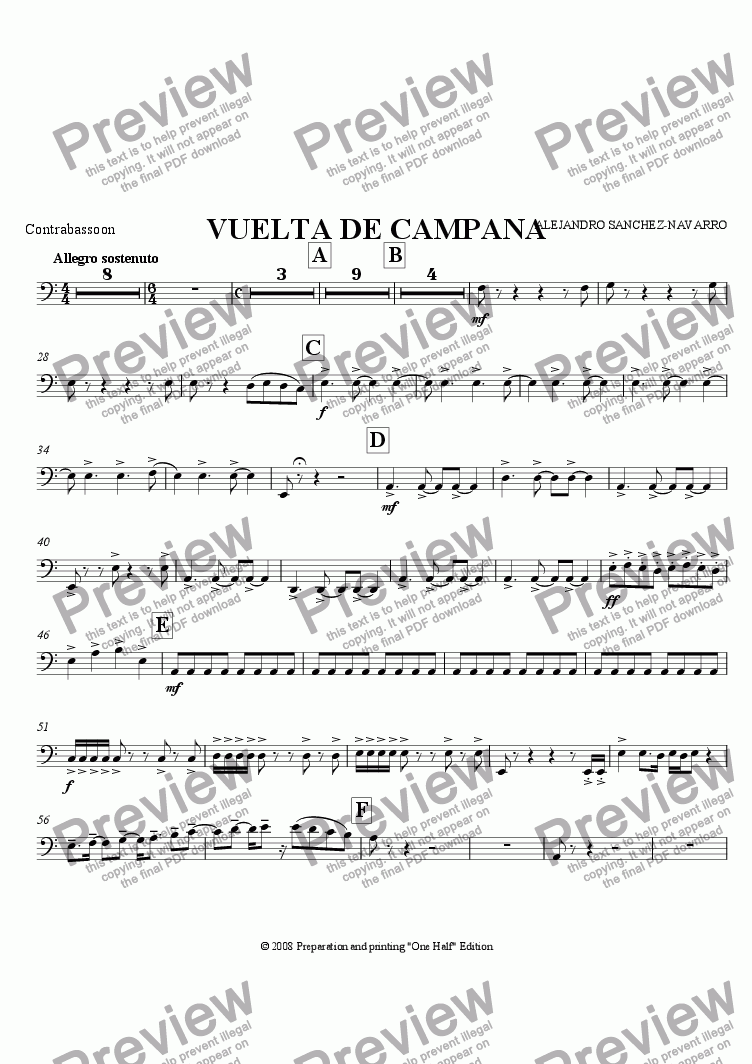 page one of the Contrabassoon part from BELL TURN