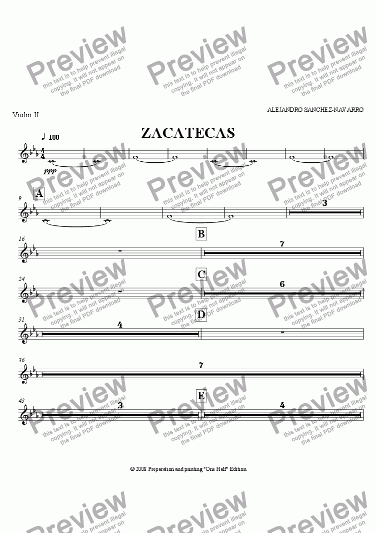page one of the Violin II part from ZACATECAS