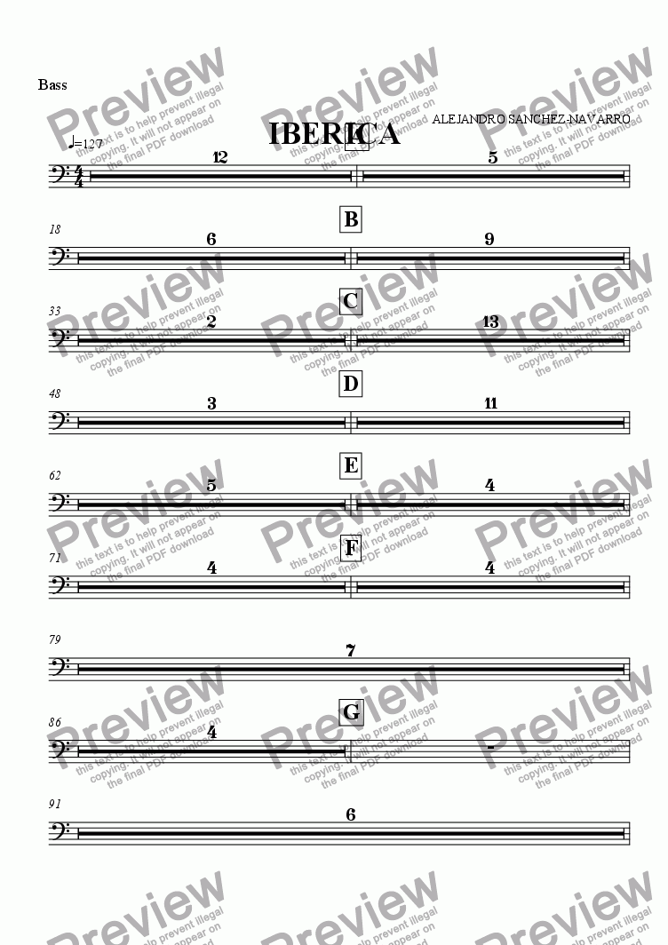 page one of the Bass part from IBERICA