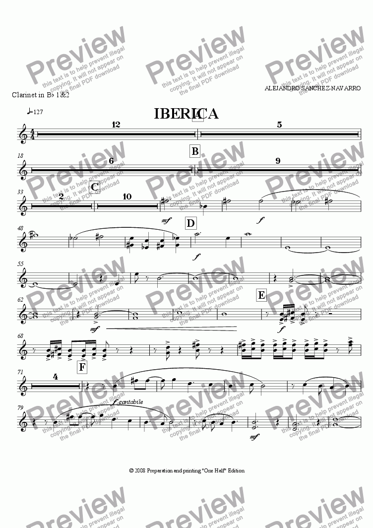 page one of the Clarinet in B^b 1&2 part from IBERICA