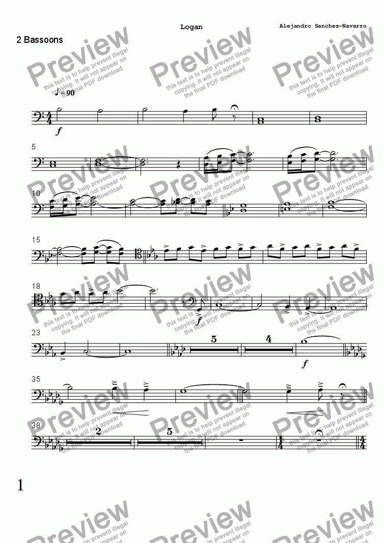 page one of the 2 Bassoons part from LOGAN