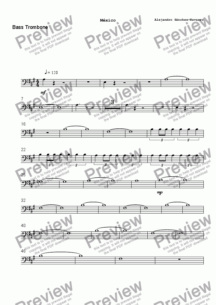 page one of the Bass Trombone part from MEXICO
