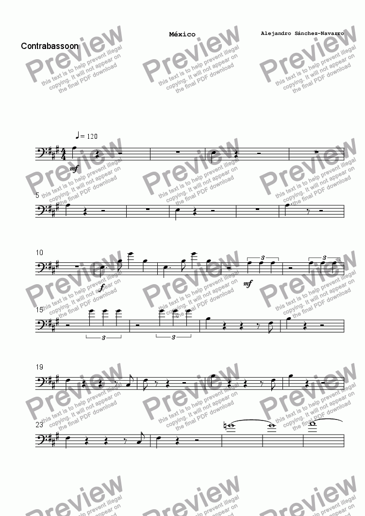 page one of the Contrabassoon part from MEXICO