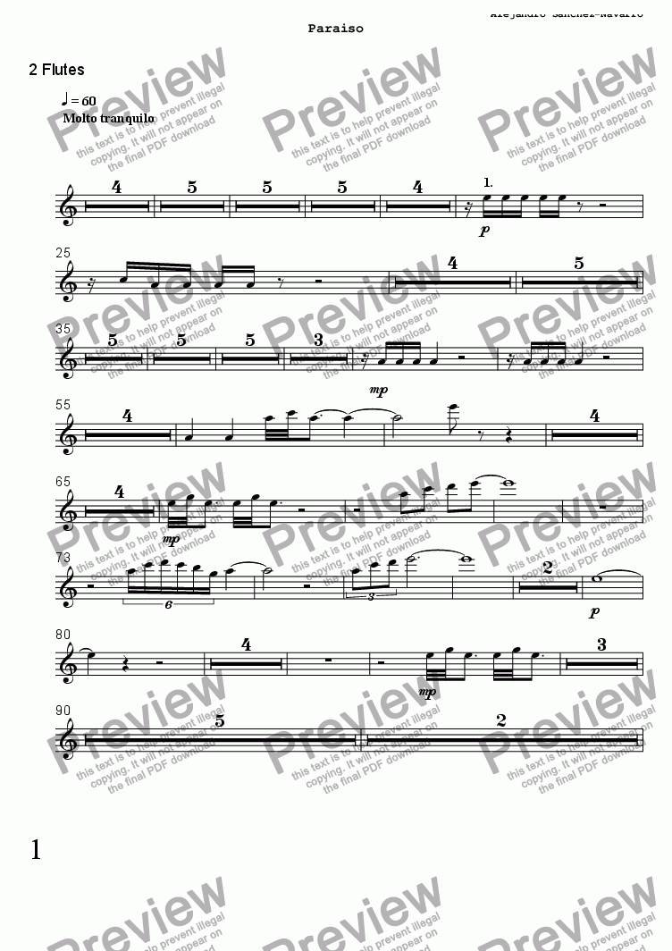 page one of the 2 Flutes part from PARADISE