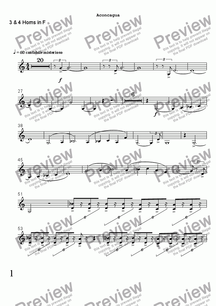 page one of the 3 & 4 Horns in F part from ACONCAGUA