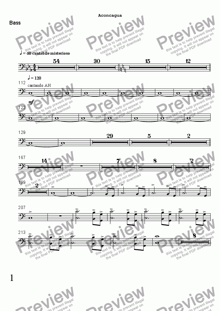 page one of the Bass part from ACONCAGUA