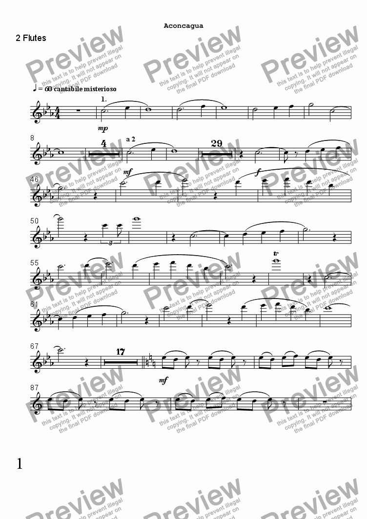 page one of the 2 Flutes part from ACONCAGUA