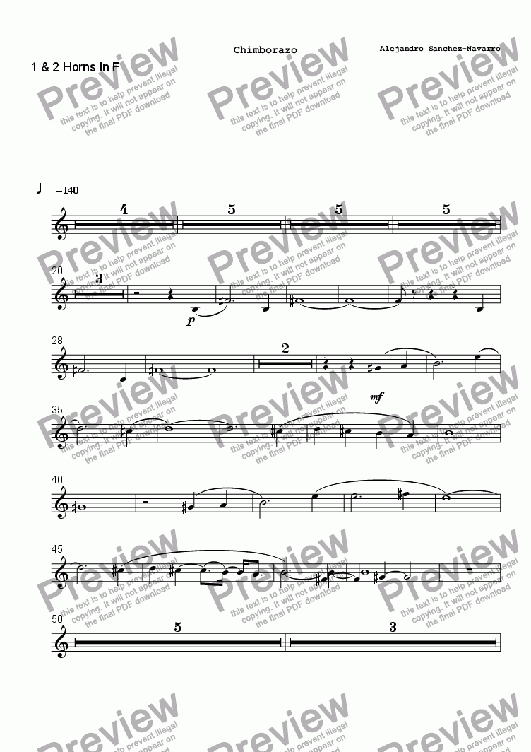 page one of the 1 & 2 Horns in F part from CHIMBORAZO