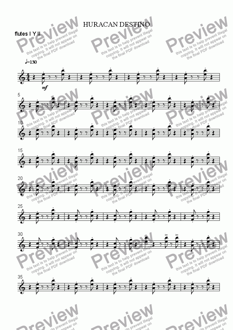 page one of the flutes I Y II part from DESTINY HURRICANE