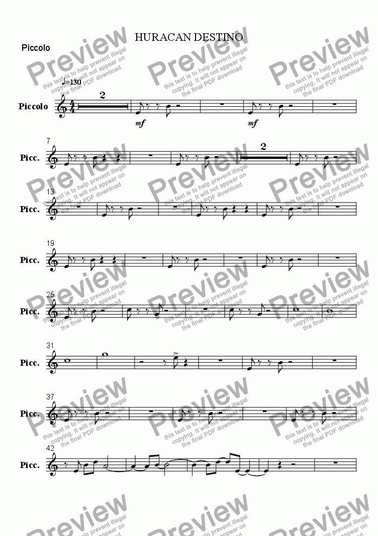 page one of the Piccolo part from DESTINY HURRICANE