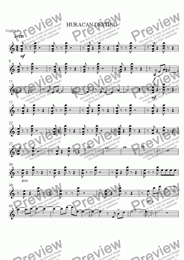 page one of the Violin I part from DESTINY HURRICANE