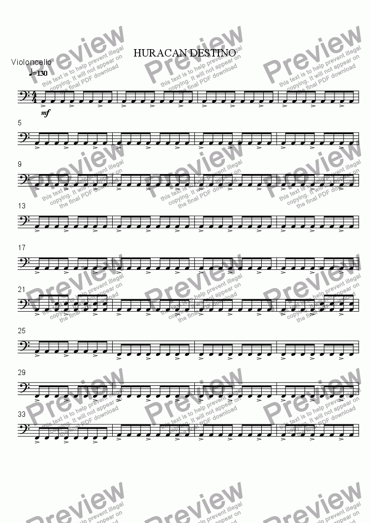 page one of the Violoncello part from DESTINY HURRICANE