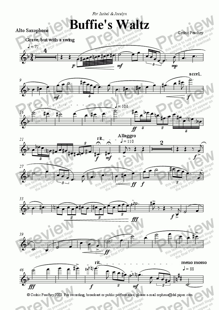 page one of the Alto Saxophone part from Buffie's Waltz