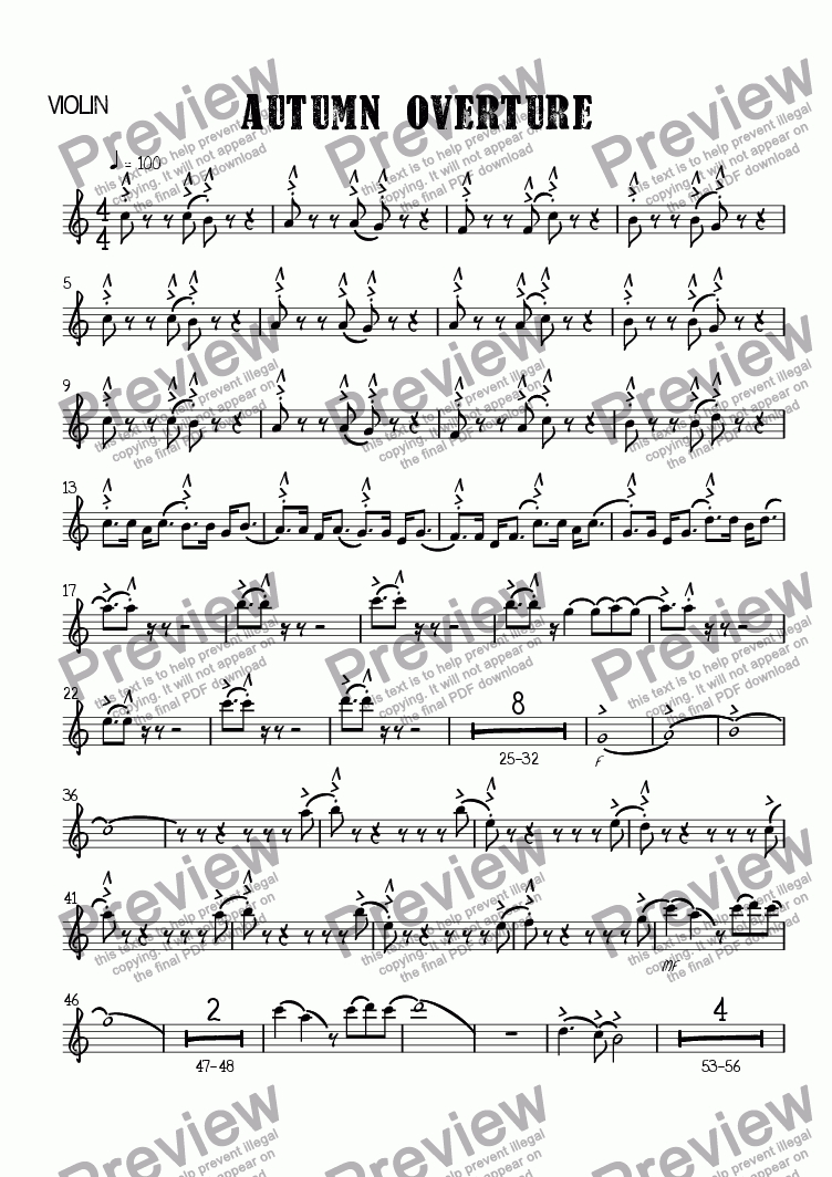 page one of the Violin part from Autumn Overture