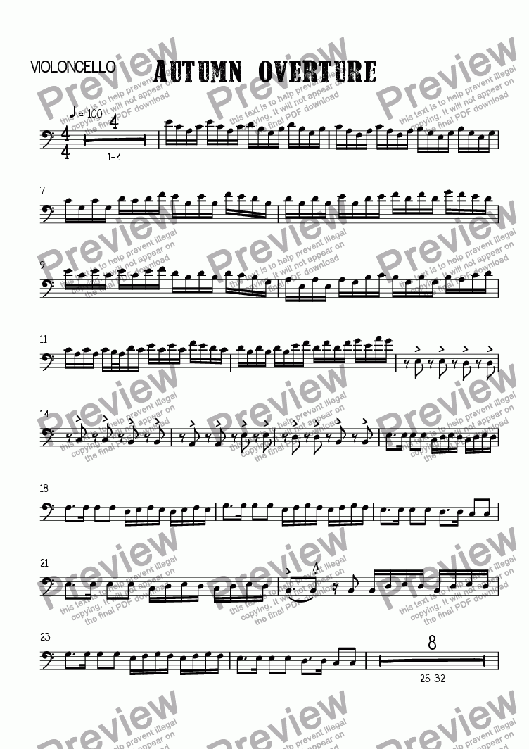 page one of the Violoncello part from Autumn Overture