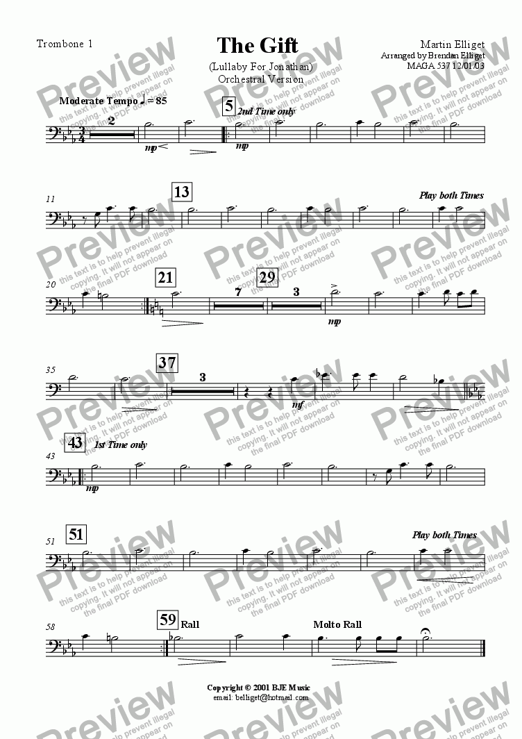 page one of the Trombone 1 part from The Gift  (Lullaby For Jonathan) Orchestral Version