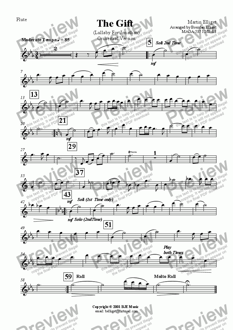page one of the Flute part from The Gift  (Lullaby For Jonathan) Orchestral Version