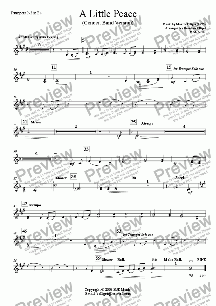 page one of the Trumpets 2-3 in B^b part from A Little Peace (Concert Band Version)