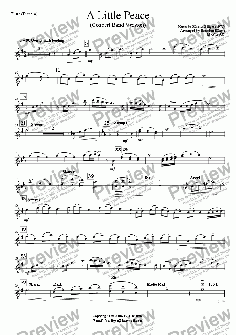 page one of the Flute (Piccolo) part from A Little Peace (Concert Band Version)