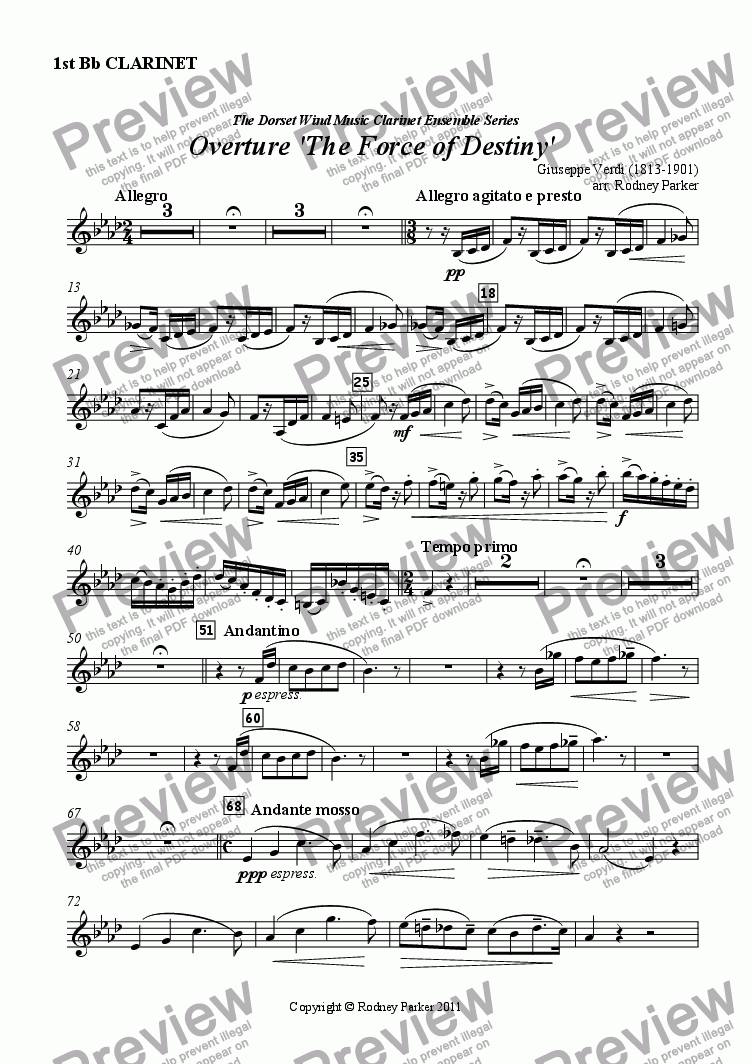page one of the 1st Clarinet in Bb part from Overture 'The Force of Destiny'