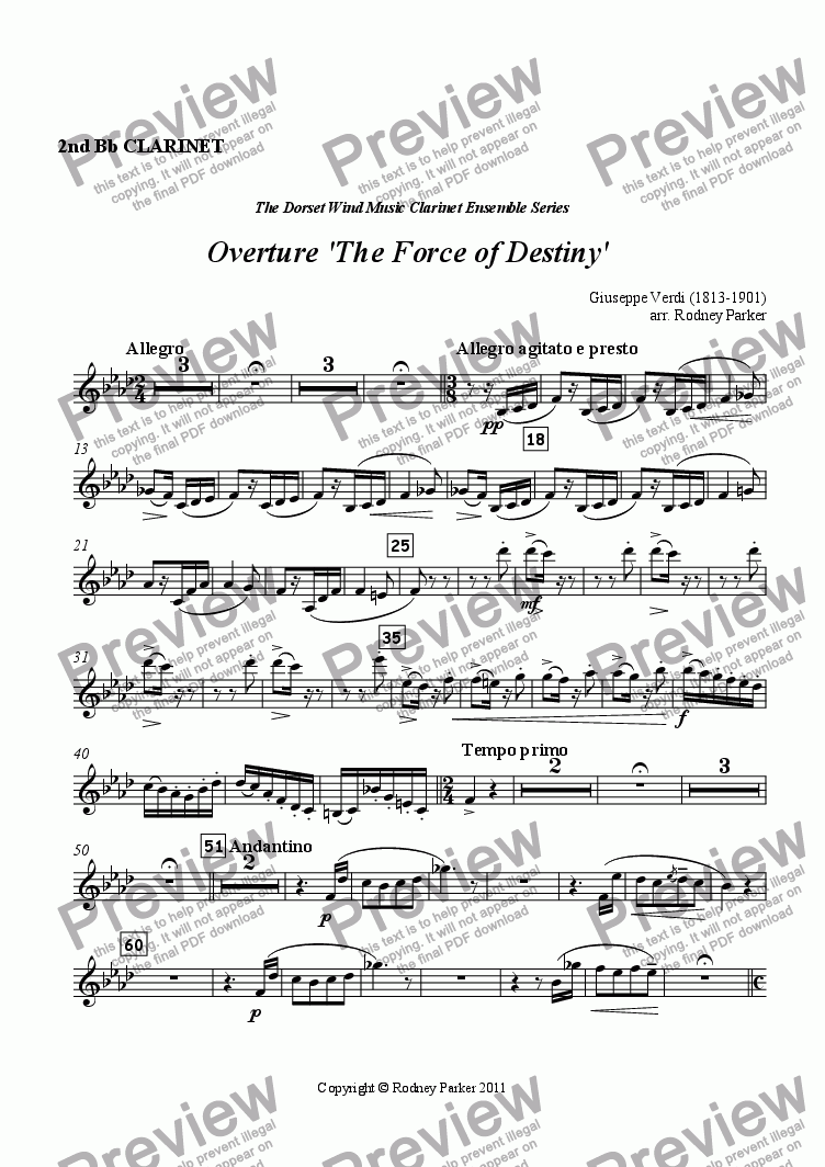 page one of the 2nd Clarinet in Bb part from Overture 'The Force of Destiny'