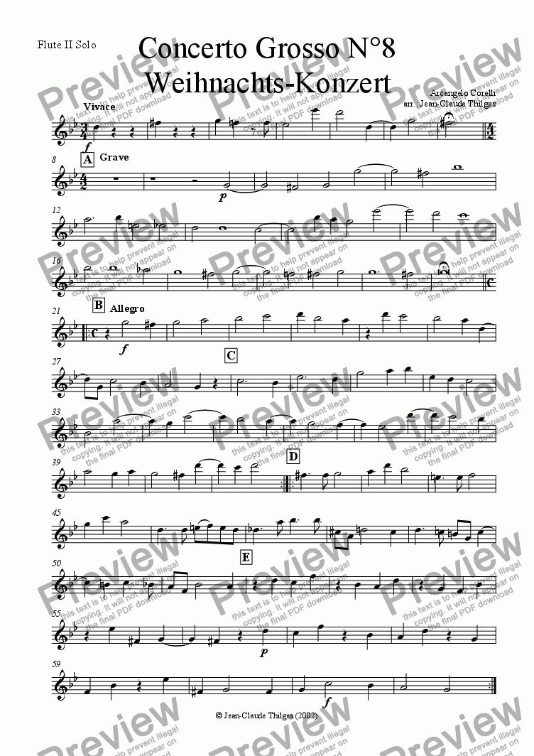 page one of the Flute II Solo part from Christmas Concerto