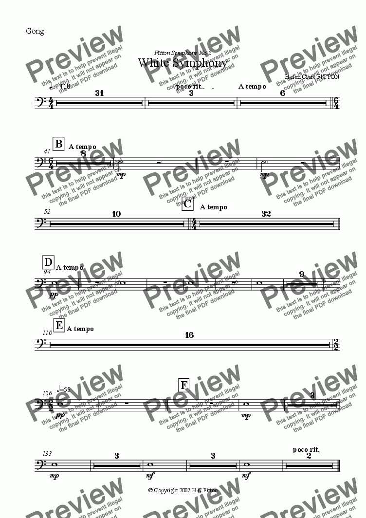 page one of the Gong part from White Symphony