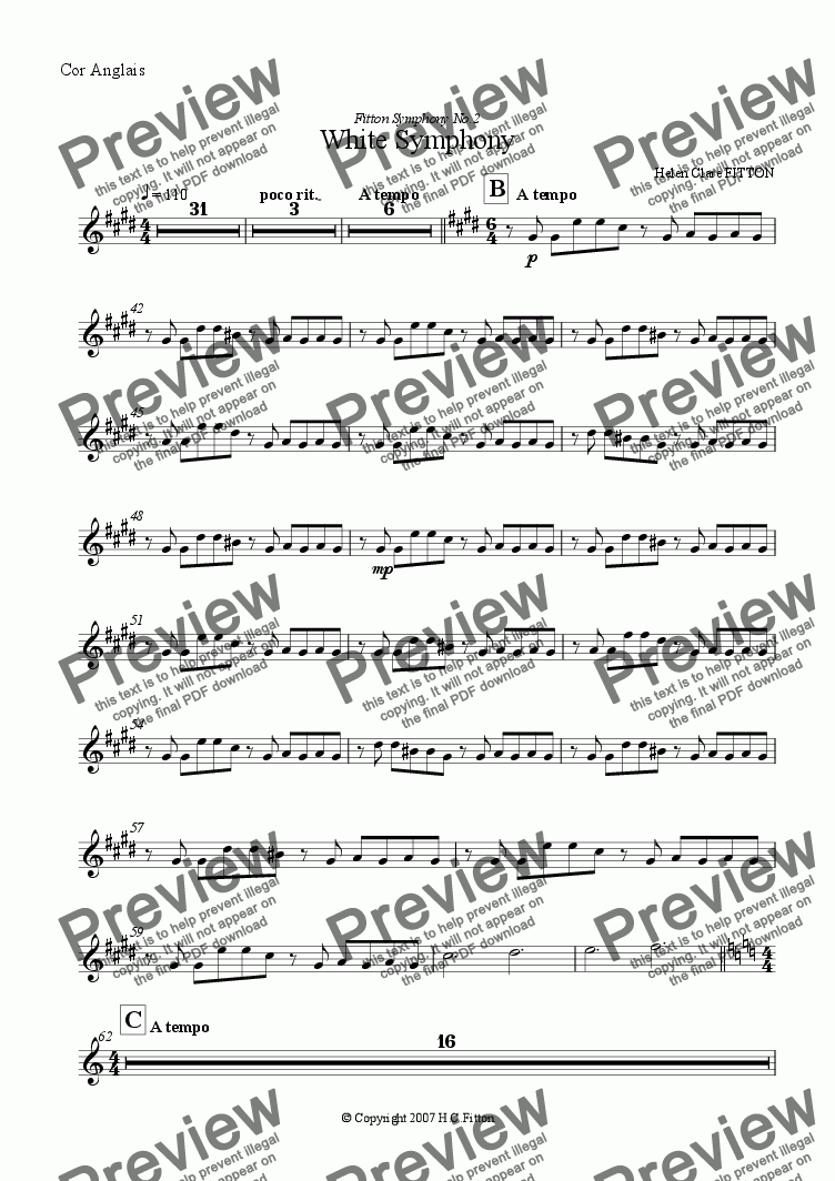 page one of the Cor Anglais part from White Symphony