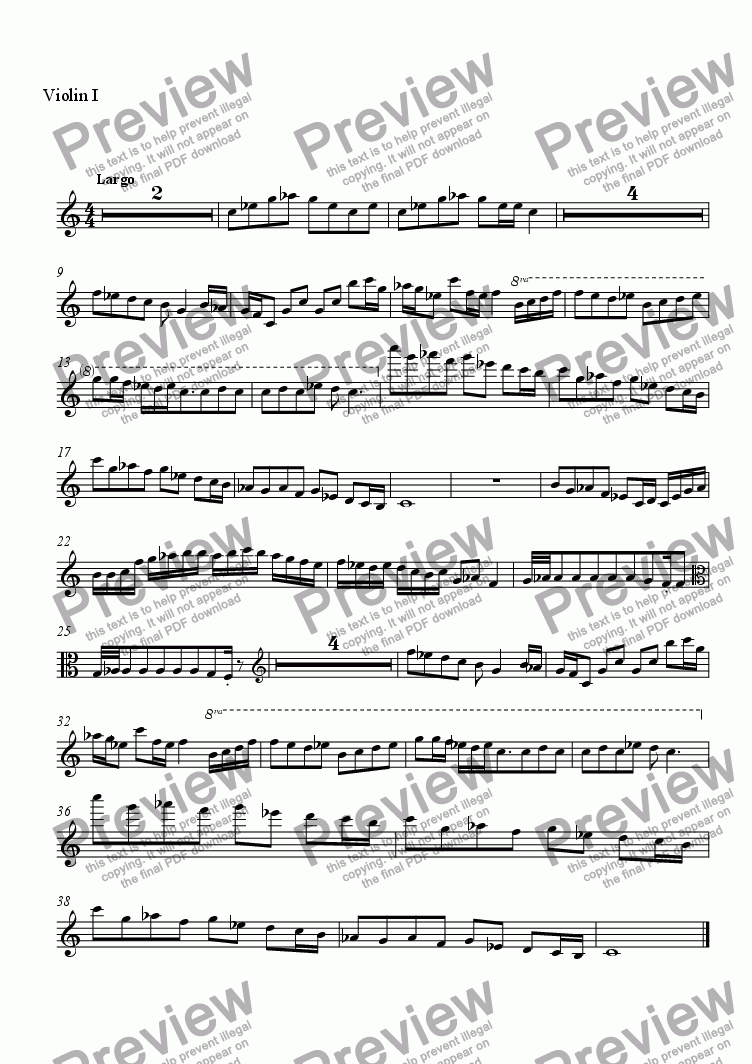 page one of the Violin I part from String Quartet No. 2