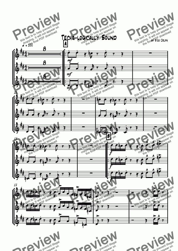 page one of the Bb Trumpet 1, 2 & 3 part from Techno-logically Sound (Jazz/Rock Combo)