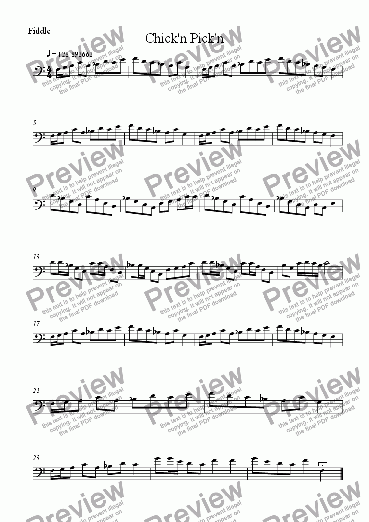 page one of the Fiddle part from Chick'n Pick'n