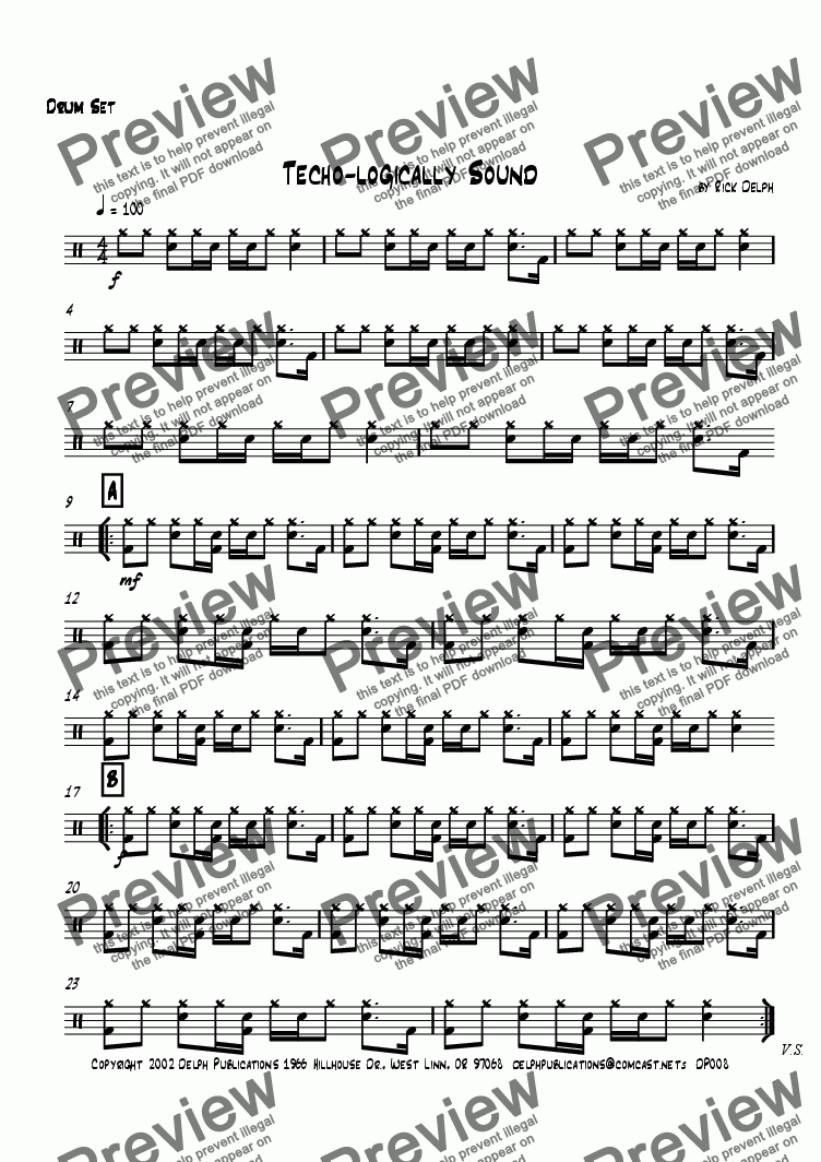page one of the Drum Set part from Techno-logically Sound (Jazz/Rock Combo)
