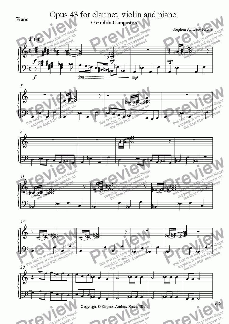 page one of the Piano part from Opus 43, Cicindela Campestris, for clarinet, violin and piano.
