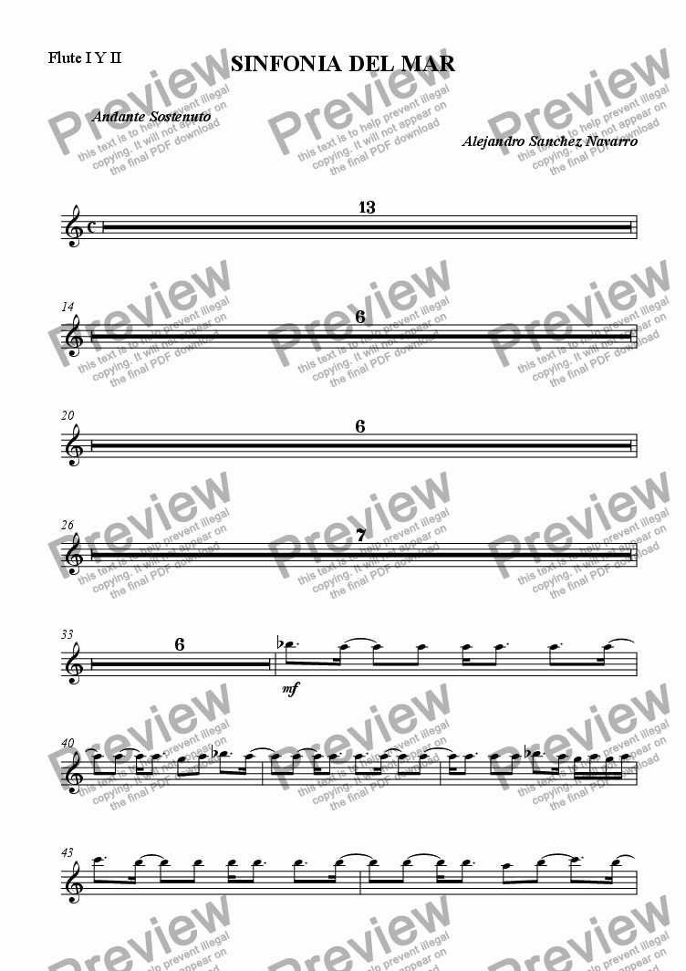 page one of the Flute I Y II part from OCEAN SYMPHONY