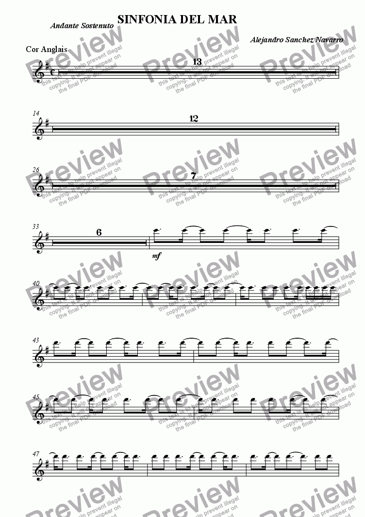 page one of the Cor Anglais part from OCEAN SYMPHONY