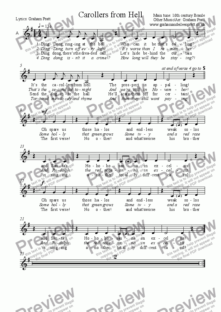 page one of the ALTO part from CAROLLERS FROM HELL