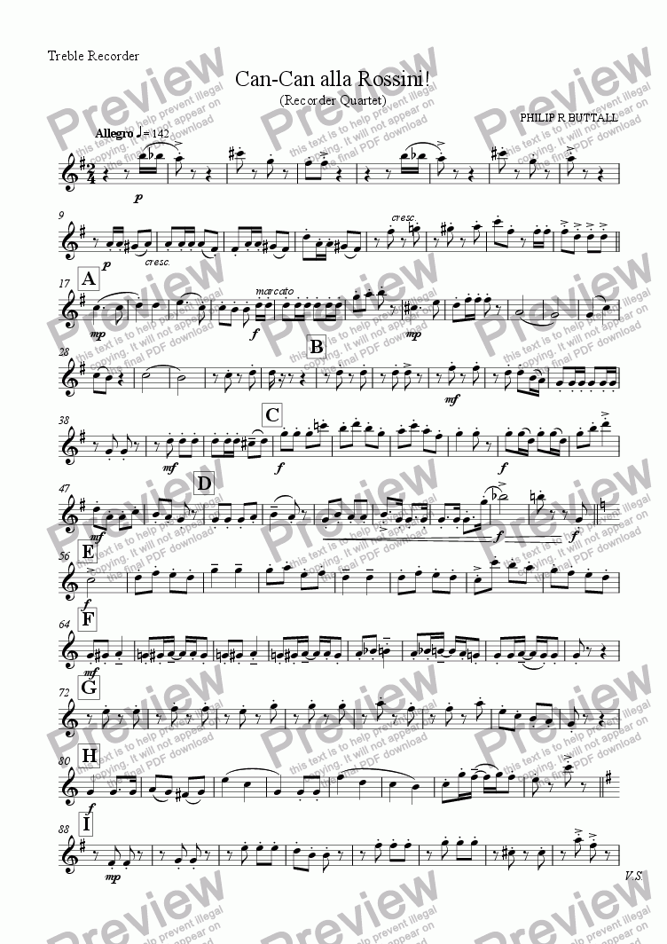 page one of the Treble Recorder part from Can-Can alla Rossini! (Recorder Quartet)