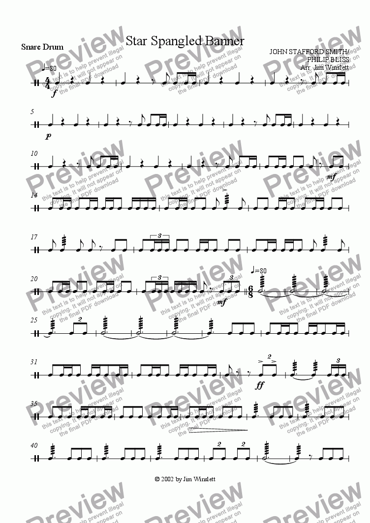 page one of the Snare Drum part from Star Spangled Banner