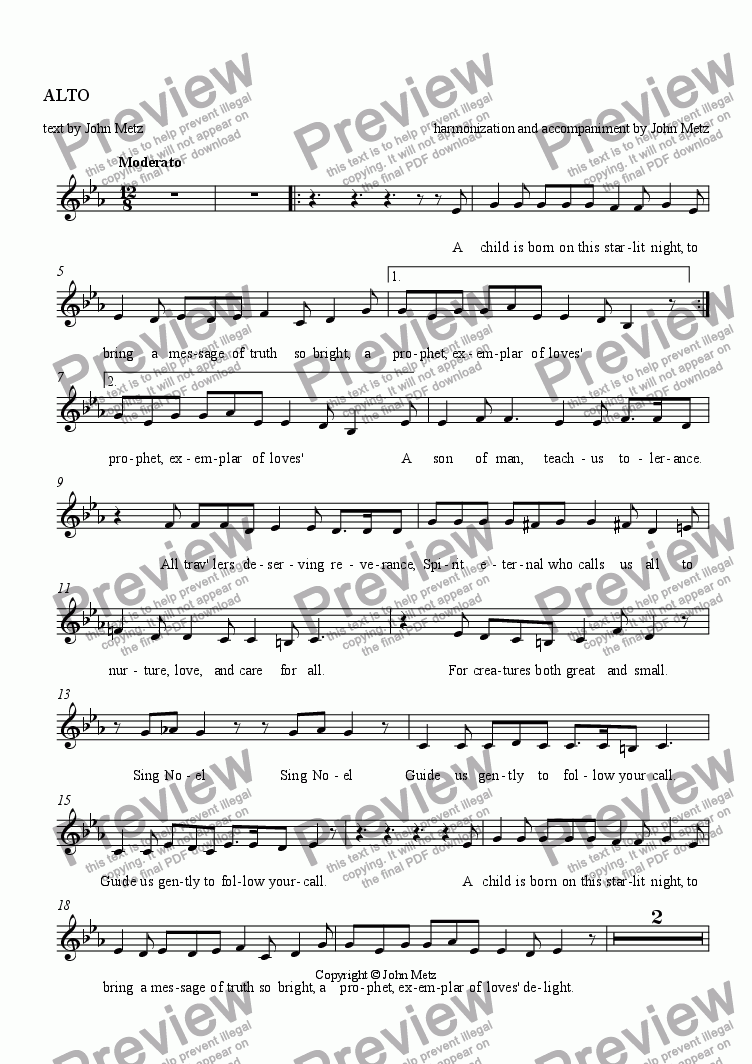 page one of the ALTO part from Noel, Noel Glad Tidings to Tell