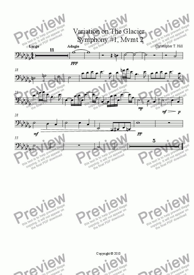 page one of the Bassoon part from Variation on The Glacier                Symphony #1, Mvmt 2
