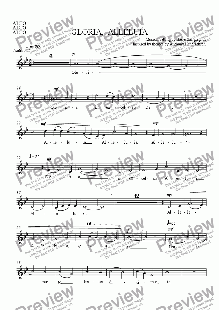 page one of the ALTO part from GLORIA,  ALLELUIA