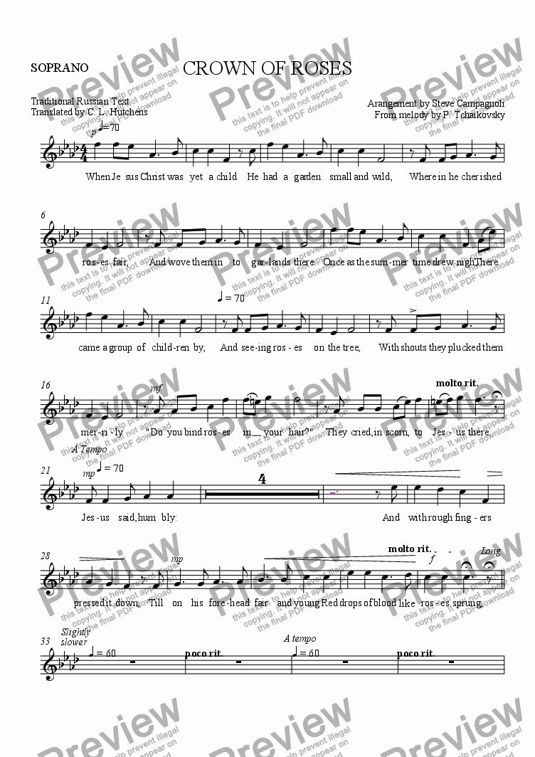 page one of the SOPRANO part from CROWN OF ROSES
