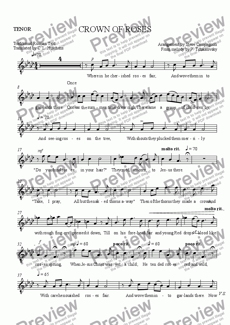 page one of the TENOR part from CROWN OF ROSES