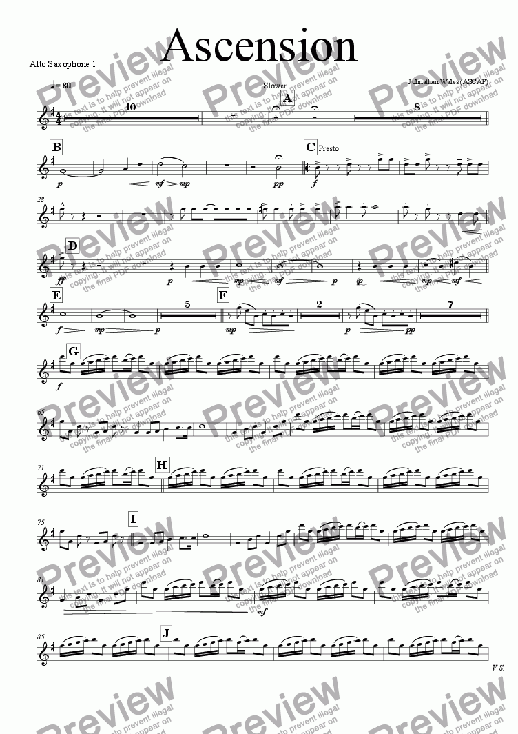 page one of the Alto Saxophone 1 part from Ascension